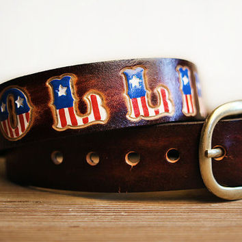 Custom Leather Belt - American Flag Letters - Children's Custom Leather Name Belt - Personalized - Boy's Belt - Girl's Belt - 4th of July