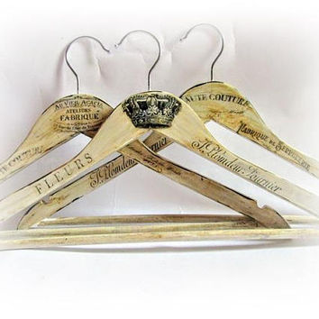 Wedding Hanger Bride Hanger Maid of Honor Gift Bridal Shower Gift Bridesmaid Hanger Name Hanger Personalized Hangers Antique Ivory Hangers