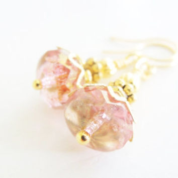 Strawberry Ice Pink Glass Earrings Pink Glass Drops Gold Earrings Wedding Jewelry Small Pink Dangles Blush Pink Gold Earrings Spring Color