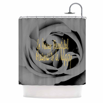 "Suzanne Carter ""Happy"" Black Floral Shower Curtain"