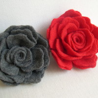 Grey or Red Rose Flower Pin - Felted Red rose hairpin - wedding hairpin - Red Bridesmaid accessory - Flowergirl clip