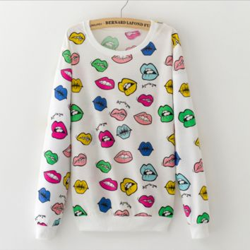 The new hedge printing fashion cute casual sweater Big lips
