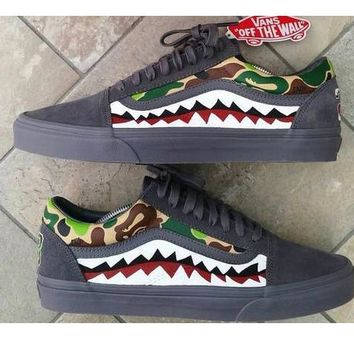 VANS Bape Aape Women Men Leisure Flat Sneakers Shark Shoes B-CSXY Camouflage Dark grey/green