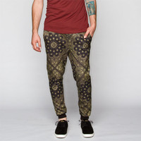 Elwood Bandana Print Mens Jogger Pants Black/Gold  In Sizes
