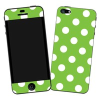 "White Polka Dot on Baby Blue ""Protective Decal Skin"" for iPhone 5"
