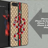 TOPSALE!Gucci.b3Brown Snake Stripe Case For iPhone 6 6+ 6s 6s+ 7 7+ 8 8+ X Cover