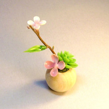 Miniature Succulent Flowers in Natural Wood Planter Fairy Garden Dollhouse Decor