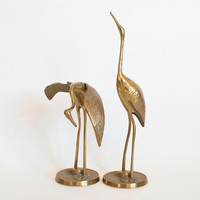 Pair of Vintage Brass Cranes, The Bird of Happiness, Statue Figurine, Hollywood Regency, Larger Size