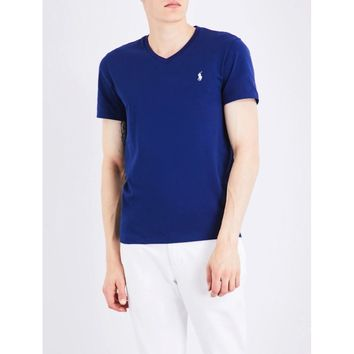 Polo Ralph Lauren Men's Cotton Jersey V-Neck T-Shirt Foster Blue Size 2-Extra Large