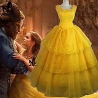2017 Movie Beauty and The Beast Princess Belle cosplay costume Emma Watson Belle dress Halloween costumes for adult women dress