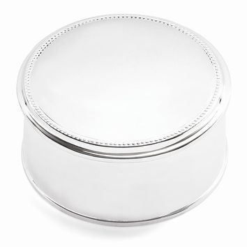 Silver-plated Beaded Round Jewelry Box - Engravable Personalized Gift Item