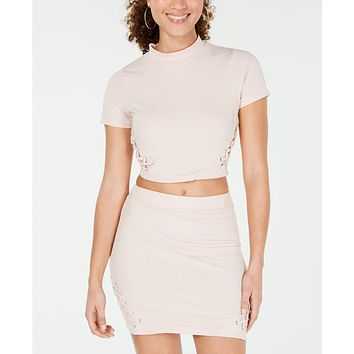 Material Girl Lace-Up Rib-Knit Crop Top,