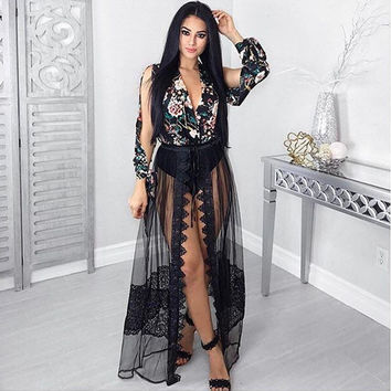 Ladies Boho Summer Dress Black Casual See Through Long Sleeve Solid Color Dresses Summer Women's Clothing