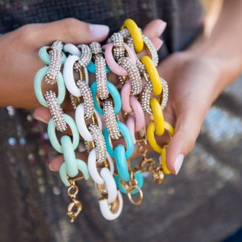 Colorful Golden Pave Link Bracelet