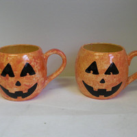 Whimsical Ceramic Large Round Coffee Mug - Halloween Jack O Lantern Pumpkin - 24 oz.