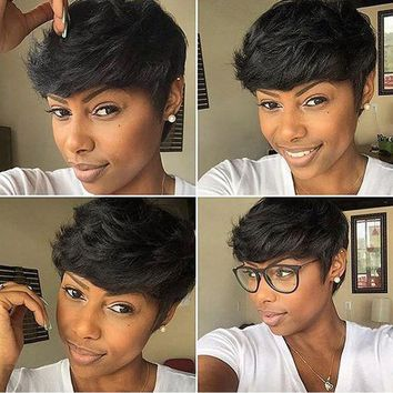 Fashion Women Short Black Brown Front Curly Hairstyle Synthetic Hair Wigs For Black African curly hair Styling Accessory #02