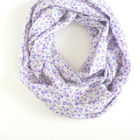 Purple Floral Scarf, Printed Scarf, Spring Scarf, Summer Scarf, Light Scarf
