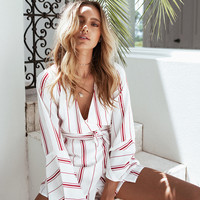 Ribbon Stripe Playsuit - Playsuits by Sabo Skirt