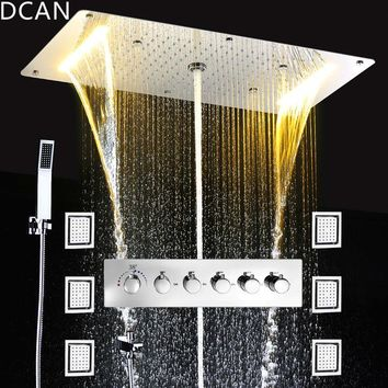 Ceiling Rainfall Shower Set Massage Spray Led 5 Way Thermostatic Faucets