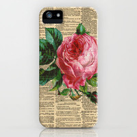Rose on a VIntage Dictionary Page iPhone & iPod Case by Adidit