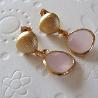 Pastel dangle earrings Preppy style - Gold framed rose glass on gold plated chestnut ear post Bridesmaid gifts