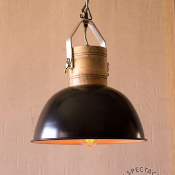 Black Enamel Dome Pendant Lamp