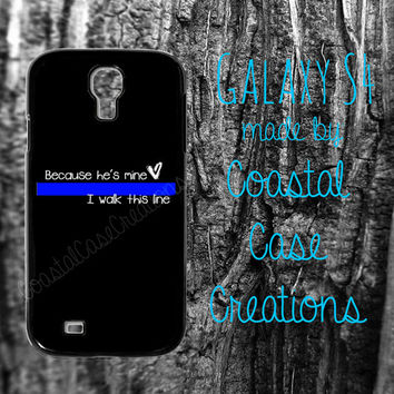 Thin Blue Line Heart Quote Samsung Galaxy S4 2 Piece Durable Cell Phone Case Cover Original Design