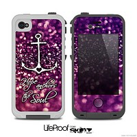 The Hope Anchors the Soul on Purple Glimmer Skin for the iPhone 4-4s or 5 LifeProof Case