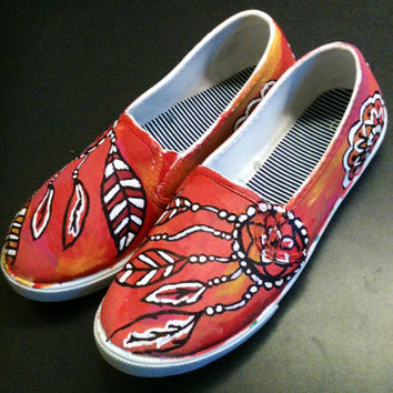 CIJ SALE- Dream Catcher Shoes Painted Shoes Vans Style Shoes Hand Drawn Shoes Slip On Shoes Dreamcatcher Shoes Size 7 shoes