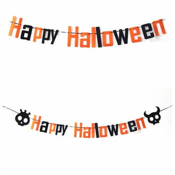 Happy Halloween  Halloween Decoration Skull Letter Garland Party Supplies Triangular Flags Ornaments Shooting Props