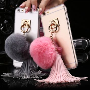 Fundas Rabbit Fur Ball Tassels Metal Ring Cases For iphone  6sand 6s Plus Case
