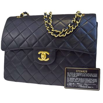 Auth CHANEL CC Matelasse Double Flap Quilted Chain Shoulder Bag Leather 682L294