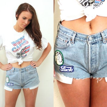 Vintage PATCHED High Waisted Sassy LEVI'S Denim Cutoff Shorts // Biker Hipster Grunge Gypsy Boho // Small / Medium