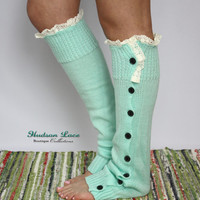 Leg Warmers, Boot Socks, High Quality, Mint Color With White Lace Trim Black Buttons Great To Show Top of Boot