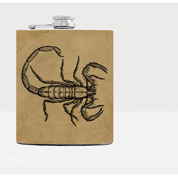 Scorpion Flask-Hip flask-Brown-Stainless Steel Flask-7oz-Urban-Liqour-Cocktail-Drinks-Flask-Home-Kitchen-21birthday-Alcohol-Whiskey