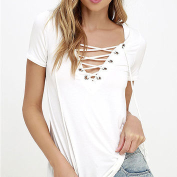 Lace Up Chest Short Sleeve T-Shirt