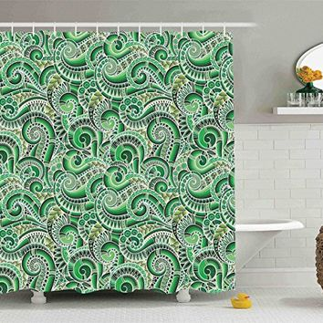 Ambesonne Asian Decor Collection, Classic Design Swirl Cucumber Illustration Curvy Outline Mexican Vegetable Summer Image, Polyester Fabric Bathroom Shower Curtain Set with Hooks, Lime Green Olive