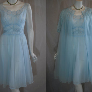 1950s Vanity Fair Blue Peignoir Set, Nightgown Robe, 34, small, Medium, Double Nylon Chiffon