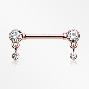 A Pair of Rose Gold Sparkle Dazzle Dangle Droplets Nipple Barbell