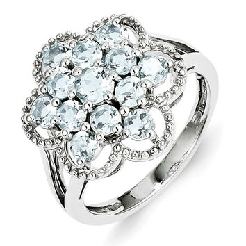 Sterling Silver Aquamarine Flower Ring