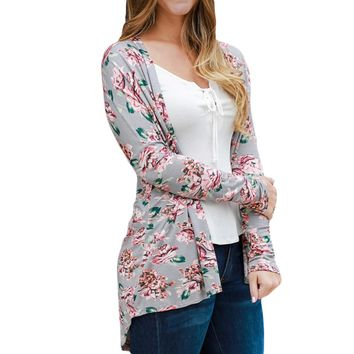 Women's Floral Print Long Sleeve Cardigan