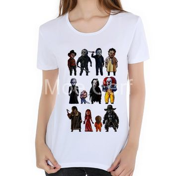 Icons of Horror Movie T-Shirt Stephen King's It  print t shirt summer top 2018 new arrival women Brand Clothing hipster L18-59