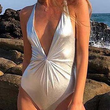 Silver Plunge Knot Front Open Back Swimsuit