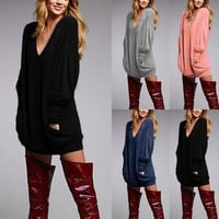 ZANZEA New Lady Loose Casual V neck Long Sleeve Pullover Pocket Short Dress Top Blouse S-XXXL = 5739098497