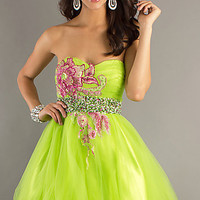 Lime Green Short Prom Dress by Dave and Johnny