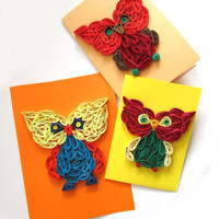 Owl Quilling Set of 3 Quilled Paper Cards, Owl Handmade Greeting Card in Warm Colors