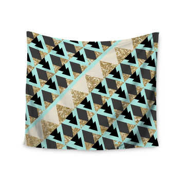 "Nika Martinez ""Glitter Triangles in Gold & Teal"" Blue Brown Wall Tapestry"