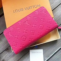 LOUIS VUITTON WOMEN MEN'S LEATHER WALLET PURSE WALLETS Rose Red