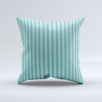 Teal Vintage Stripe Pattern v7 ink-Fuzed Decorative Throw Pillow