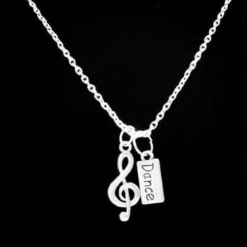 I Love Music Dance Team Treble Clef Band Musical Note Necklace